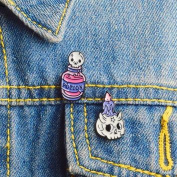 2pcs Potion and Candle Skeleton 💀 Pins