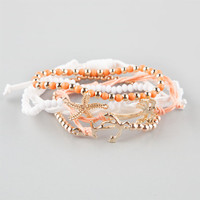 Full Tilt 5 Piece Beach Friendship Bracelets Peach One Size For Women 26192570601