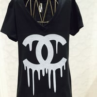 BLEEDING CHANEL LOGO INSPIRED BLACK T Shirt!