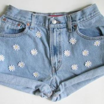 Vintage Denim Cutoff Shorts with Hand Sewn Daisy Detail