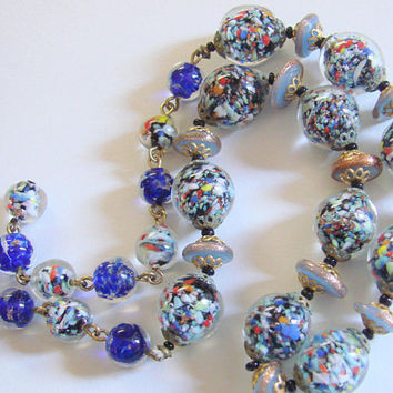 Venetian Confetti Bead Navy Art Glass Murano Glass Choker Necklace Vintage Jewelry Jewellery