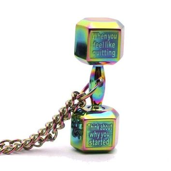 """When you feel like quitting remember why you started"" Motivational Dumbbell Fitness Jewelry Pendant Necklace"