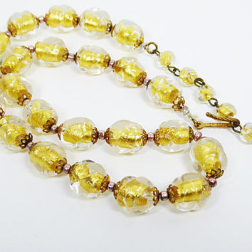 Venetian Glass Beads with Encased Metallic Golden Yellow - Gold Filigreen End Caps - Vintage 1950's Italian Glass Beaded Necklace - European