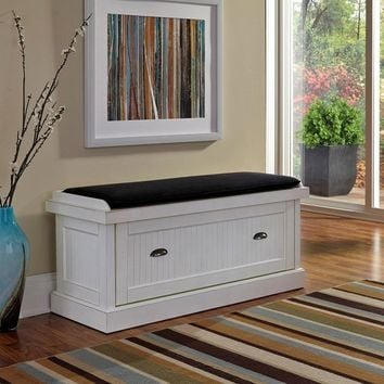 White Distressed Upholstered Storage Bench
