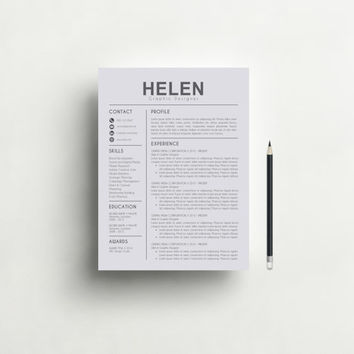Resume Template | CV Template + Cover Letter + Reference Letter for Word | Instant Digital Download | Mac or Pc