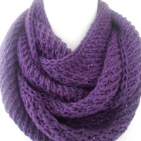 Purple Infinity Scarf,Knitted infinity Scarf,Loop Scarf, Circle Scarf,Infinity Scarf , winter accessory , Hand Knitted scarf
