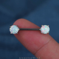 nipple ring 14g white fire opal nipple jewelry silver unique boho bohemian jewelry 14g