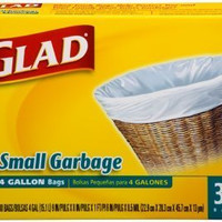 3 Pk, Glad Small Trash Bags, 4 Gallon, 30 Ct Per Pack (Total of 90)