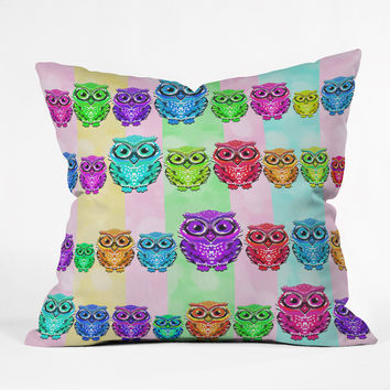 Lisa Argyropoulos Little Hoots Stripes Multicolor Throw Pillow