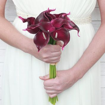 "Real Touch Small Hand-Tied Calla Lily Wedding Bouquet in Wine13"" Tall x 7.25"" Bouquet Diameter"