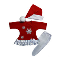 Baby Girls' Snowflake Christmas Red Dress Set with Santa Hat