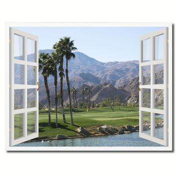 Palm Springs California West Golf Course Picture French Window Framed Canvas Print Home Decor Wall Art Collection