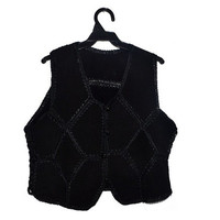 Black Suede Leather Vest Womens Waistcoat Boho Hippie Crochet Top Vintage Small Medium S M