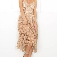 Spaghetti Strap Lace One Piece Dress
