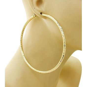 Hatching Textured Large Hoop Gold Earring