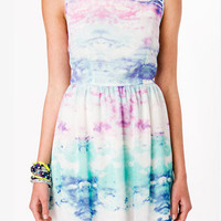 FOREVER 21 Watercolor Sky Fit & Flare Dress Blue/Purple Large