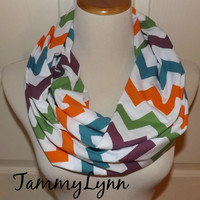 NEW!!  Rainbow Fall Colors Chevron Scarves Chevron Zig Zag Jersey Knit Infinity Scarf Scarves