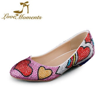 Love Moments Low heel shoes multicolor rhinestone woman pumps lovely design wedding party shoes for women big size34- 44