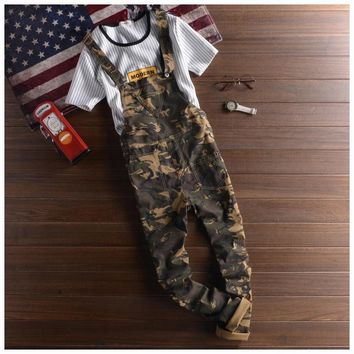 Mens Camo Bib Overalls Pants Fashion Slim Skinny Ripped Denim Overalls Jeans Man Casual Blue Denim Jumpsuits Jeans For Men