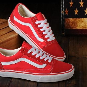 VANS Classic Old Skool Low Red / White sneaker Casual Shoes