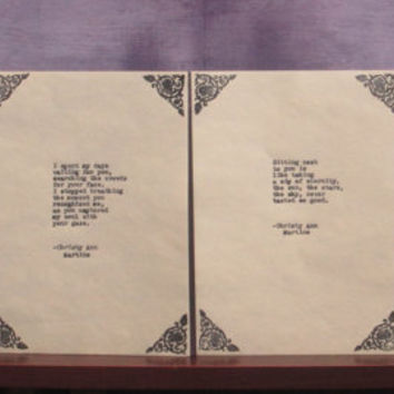 Unique Wedding Gift for Couple or Romantic Anniversary gift Love Poem Collection Four Matching Poems Typed by Poet with Vintage Typewriter