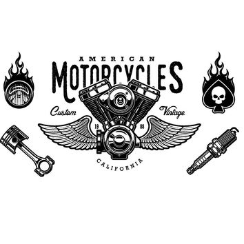 Motorcycles Heat Transfer Stickers Hipster Fire Cloth Patches DIY Classic Skull Rider Iron-on Patch Appliqued Parches