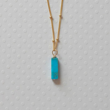 Turquoise bar necklace - turquoise stone pendant on gold filled satellite chain - everyday modern jewelry - Julia