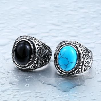 LINSOIR 2017 Black Blue Natural Turquoises Stone Ring for Men Women Stainless Steel Vintage Stones Male Rings Jewelry Bague