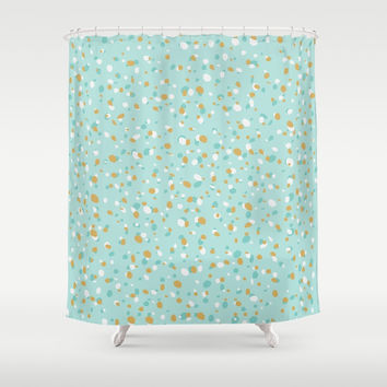 Aqua Turquoise Terrazzo Shower Curtain by printapix