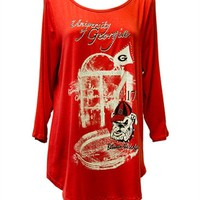 Georgia Bulldogs Shirttail Top | UGA Shirttail 3/4 Sleeve Shirt | Georgia Bulldogs 3/4 Sleeve Top