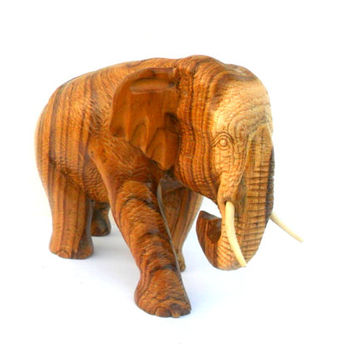 "Wood Carving Elephant Hand Carved Elephant Natural Teak Wood Elephant Handmade Wooden Elephant Art Home Decor / Gift 7"" x 4.5"" x 4"""