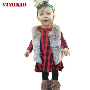 VIMIKID Cute Toddler Kids Girls Dress 2017 Spring Long Sleeve Red Plaid Children Dresses for Baby Girls Casual Cotton Dress 1-6Y