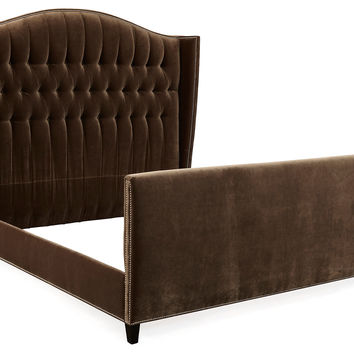 Bed Café Charles Velvet Tufted, Wing Beds