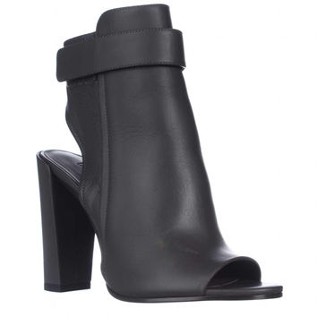 VINCE Brigham Peep-Toe Open Heel Ankle Boots - Graphite Leather