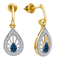 Blue Diamond Fashion Earrings in 10k Gold 0.25 ctw