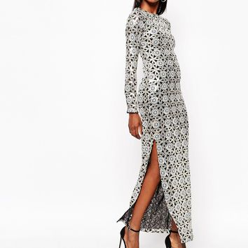 River Island Geo Sequin Maxi Dress