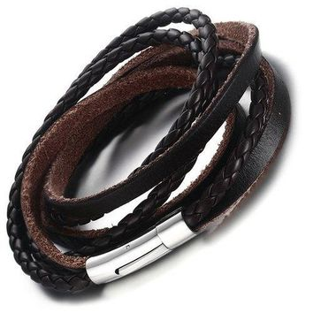 Faux Leather Braid Layered Bracelet - Brown