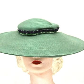 Vintage Green Straw Saucer Hat Wide Brim 1930s Church Womens