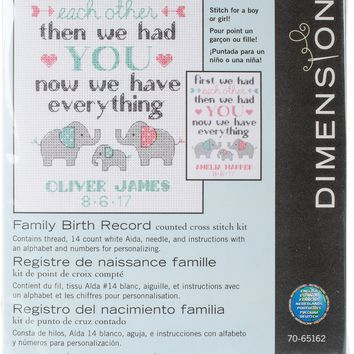 "Family Birth Record (14 Count) Dimensions Counted Cross Stitch Kit 5""X7"""