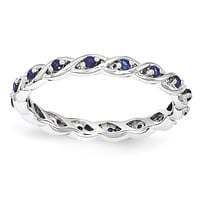 Sterling Silver Stackable Expressions Created Blue Sapphire Twist Eternity Ring