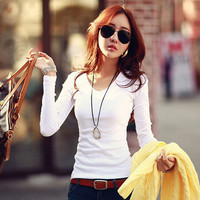 Women v neck long sleeve tops shirts solid elegant Top casual blouse SM6