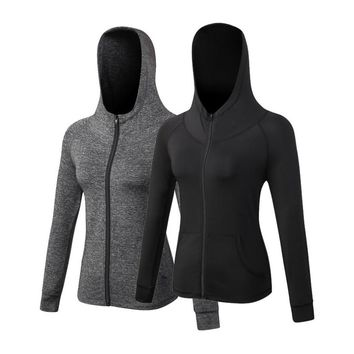Yuerlian Yoga top Women Sports Hoodies Long sleeve Sweatshirt for Female Running Fitness Zipper Jacket with Hooded design jacket