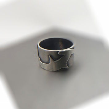 Sterling Sliver Hammerhead Shark Band Ring