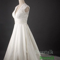 Empire Waist Lace Taffeta Wedding Dress Plus Size Ball Gown