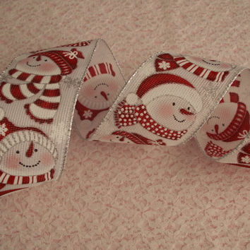 "5 YARDS, Decorative Ribbon, 2 1/2"" wide, wired-edge,Christmas Ribbon,Gift Baskets,Bows,Wreaths,Floral Arrangements,Home Decor,Gift Wrapping"