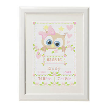 Cross stitch name Birth announcement cross stitch pattern baby sampler Owl Flower Cross Stitch pattern pdf  new baby girl birthday gift