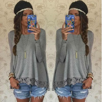 I want Gray Long Sleeve Lace Panel T-Shirt - Grey/Red/purple/Black/Green