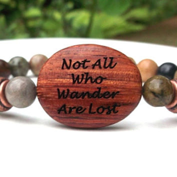 Not All Who Wander Are Lost, Jasper Bracelet, Yoga Bracelet, Free Spirit, Natural Beaded Bracelets, Gemstone Bracelet, Message Bracelet
