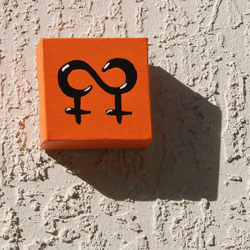 ... lesbian love acrylic paint pop art wall decor wedding gift orange