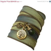 ON SALE Wrap Bracelet with Gold Om, Tree of LIfe and Jade,bohemian jewelry, yoga jewelry, wrap bracelet, hand painted silk ribbon